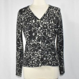 Lambs Wool & Angora Black Floral Cardigan MEDIUM